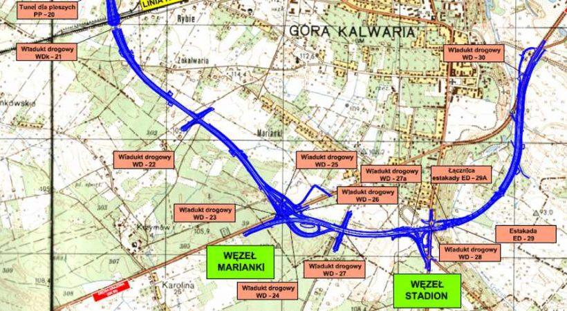Mapa projektowanego przebiegu obwodnicy Góry Kalwarii