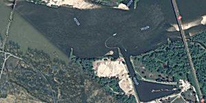 Zdjęcie satelitarne portu rzecznego w Górze Kalwarii
