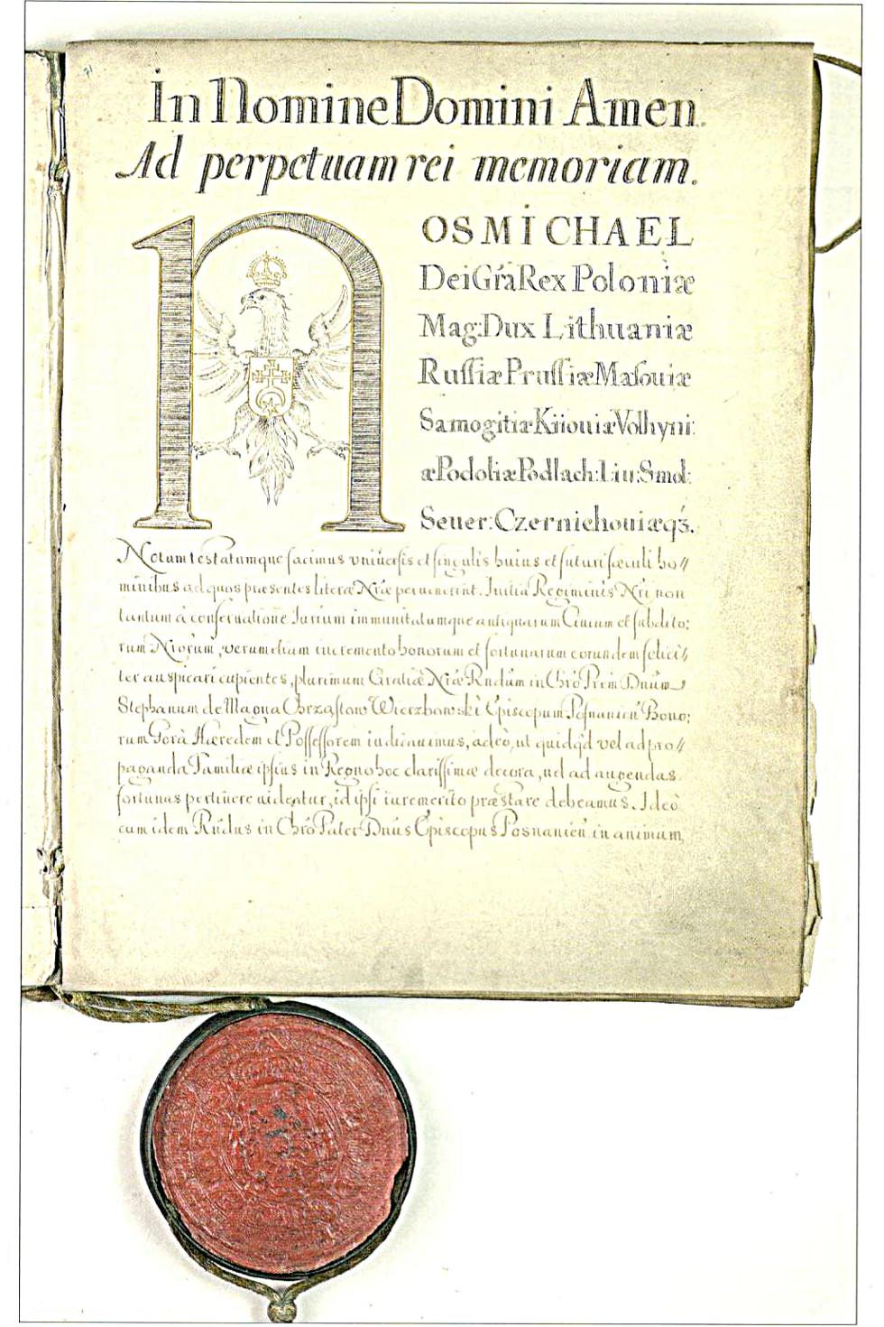 Przywilej króla Michała Korybuta Wiśniowieckiego nadający prawo magdeburskie Nowej Jerozolimie.